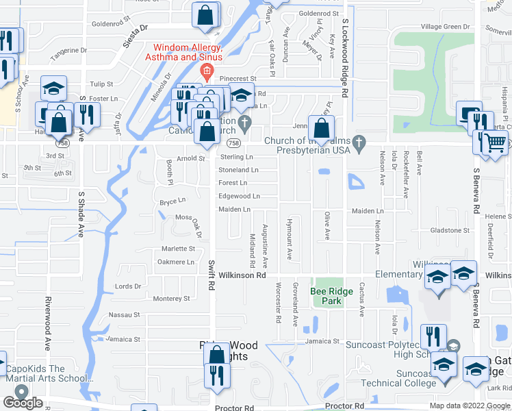 map of restaurants, bars, coffee shops, grocery stores, and more near 2937 Maiden Lane in Sarasota