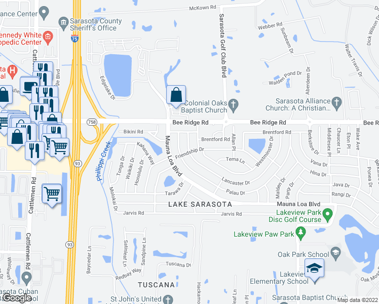 map of restaurants, bars, coffee shops, grocery stores, and more near Friendship Dr & Lancaster Dr in Sarasota