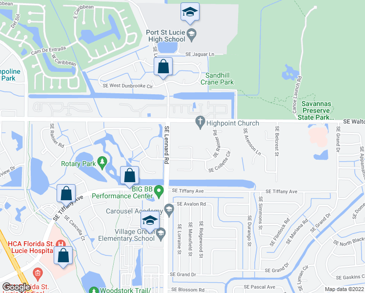 map of restaurants, bars, coffee shops, grocery stores, and more near Southeast North Balcourt Court in Port St. Lucie