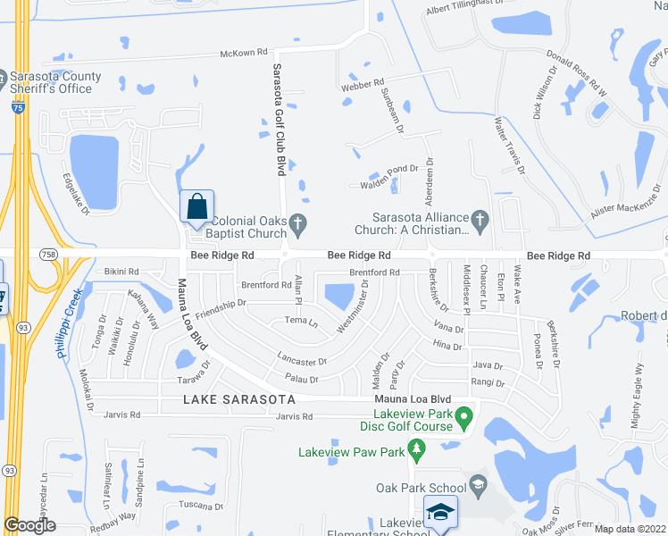 map of restaurants, bars, coffee shops, grocery stores, and more near 6923 Brentford Road in Sarasota