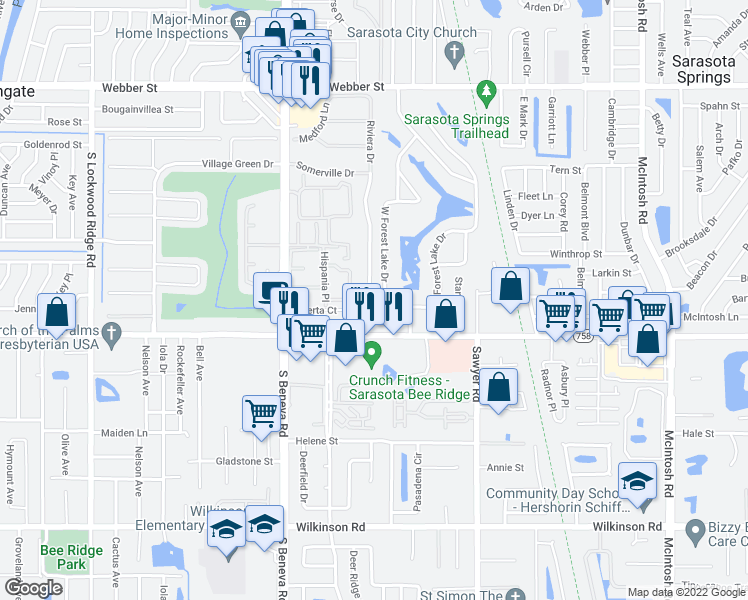 map of restaurants, bars, coffee shops, grocery stores, and more near 3707 Riviera Drive in Sarasota