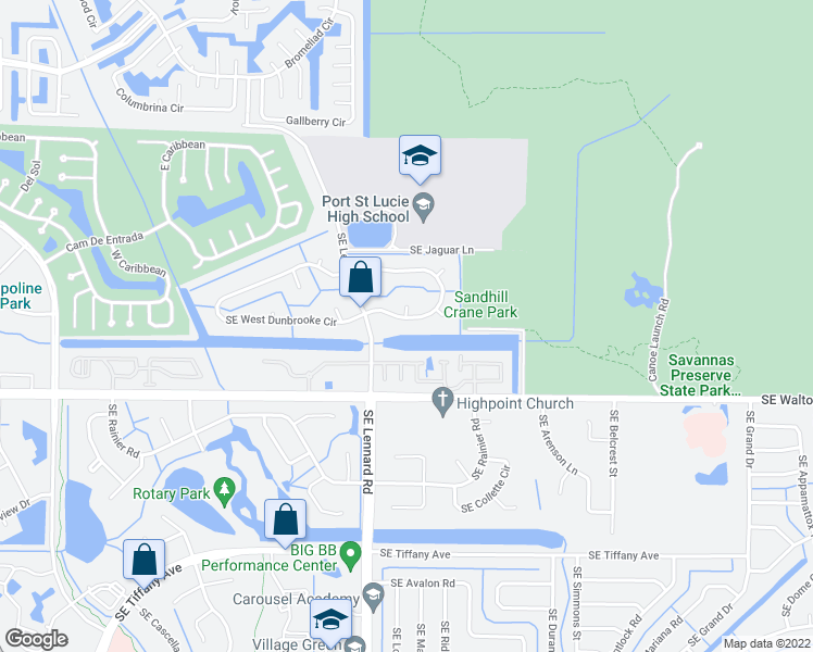 map of restaurants, bars, coffee shops, grocery stores, and more near 2256 Southeast Eeast Dunbrooke Circle in Port St. Lucie