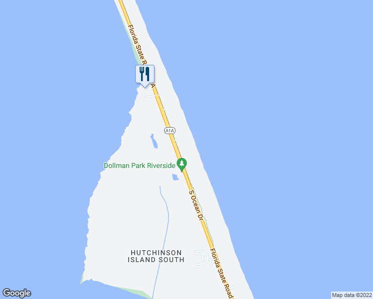 map of restaurants, bars, coffee shops, grocery stores, and more near 8800 South Ocean Drive in Jensen Beach