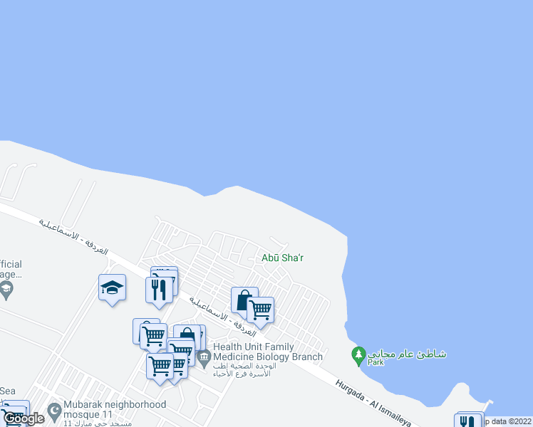 map of restaurants, bars, coffee shops, grocery stores, and more near in Hurghada