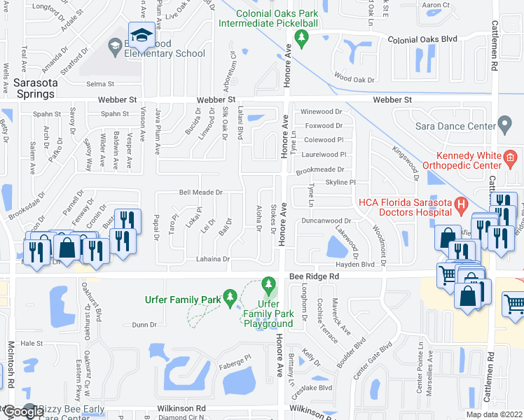 map of restaurants, bars, coffee shops, grocery stores, and more near 3551 Aloha Drive in Sarasota
