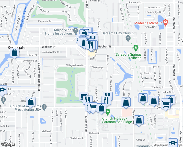 map of restaurants, bars, coffee shops, grocery stores, and more near 3211 South Beneva Road in Sarasota