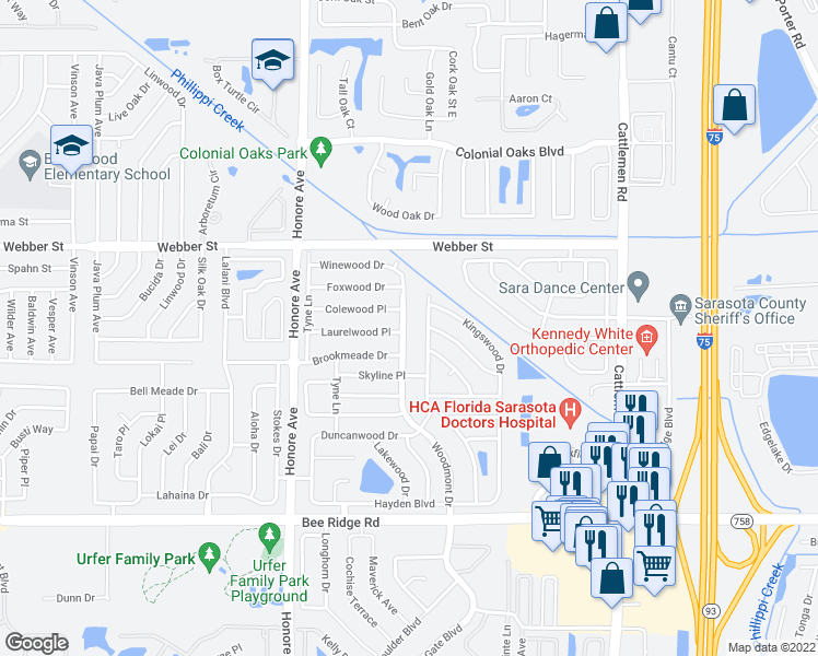 map of restaurants, bars, coffee shops, grocery stores, and more near 3301 Woodmont Drive in Sarasota