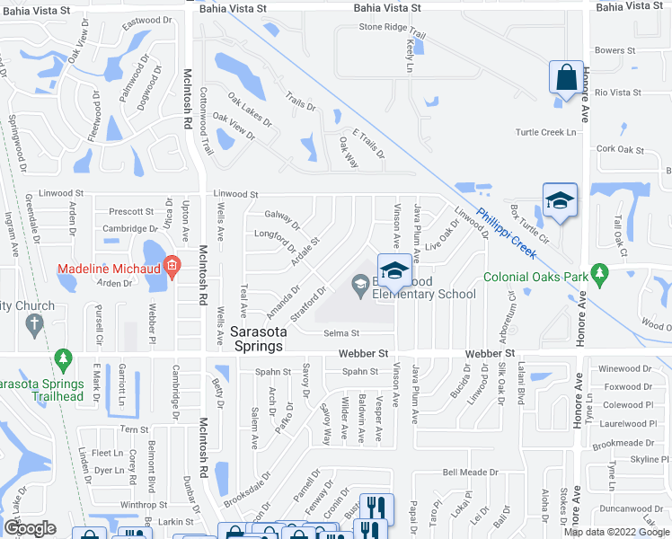 map of restaurants, bars, coffee shops, grocery stores, and more near 2426 Stratford Drive in Sarasota