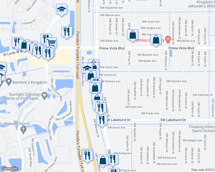 map of restaurants, bars, coffee shops, grocery stores, and more near 741 Southwest Swan Avenue in Port St. Lucie
