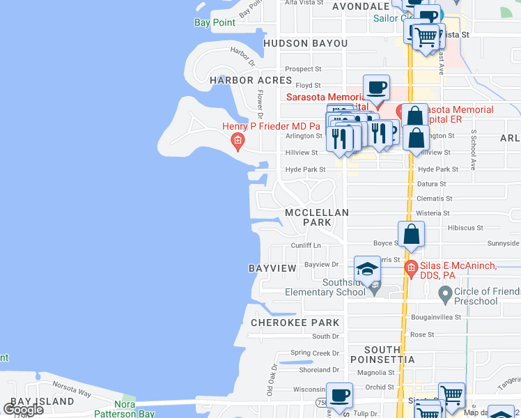 map of restaurants, bars, coffee shops, grocery stores, and more near 1508 Sandpiper Lane in Sarasota