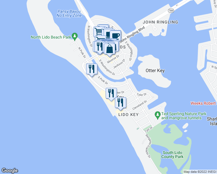 map of restaurants, bars, coffee shops, grocery stores, and more near 350 South Polk Drive in Sarasota