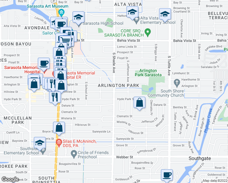 map of restaurants, bars, coffee shops, grocery stores, and more near Hillview Street in Sarasota