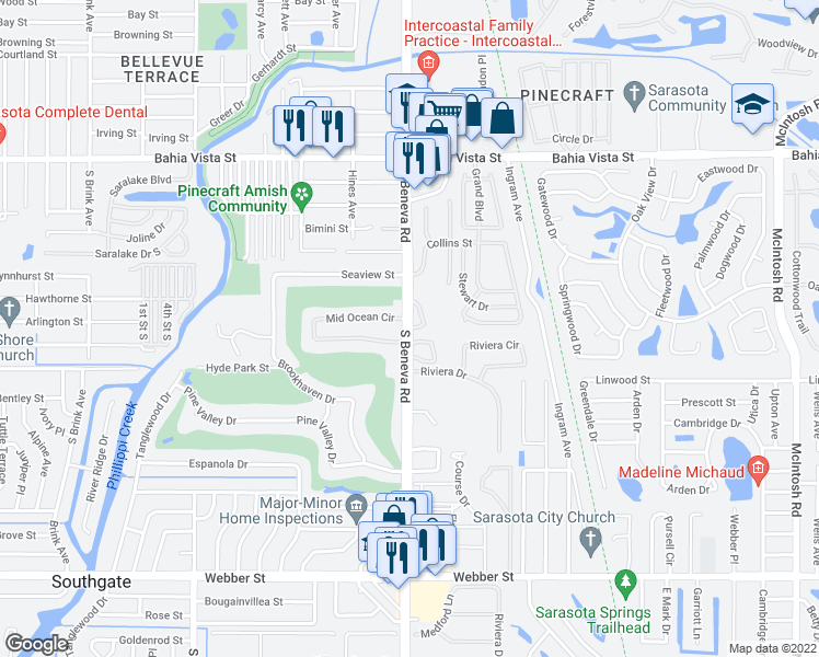 map of restaurants, bars, coffee shops, grocery stores, and more near Beneva Rd & Parakeet Way in Sarasota Springs