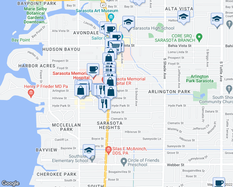 map of restaurants, bars, coffee shops, grocery stores, and more near 2050 Arlington Street in Sarasota