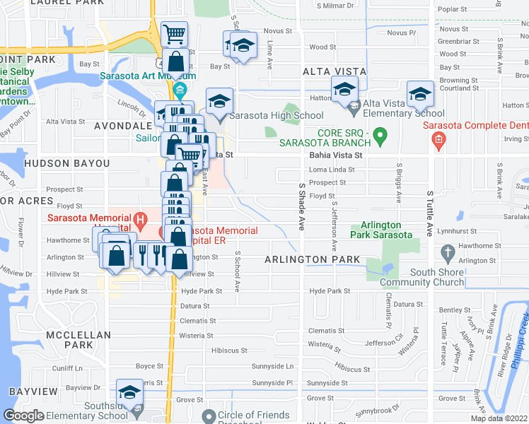 map of restaurants, bars, coffee shops, grocery stores, and more near 2268 Temple Street in Sarasota