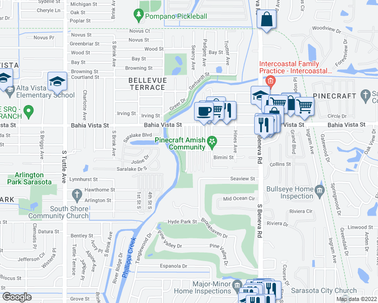 map of restaurants, bars, coffee shops, grocery stores, and more near 1400 Good Avenue in Sarasota