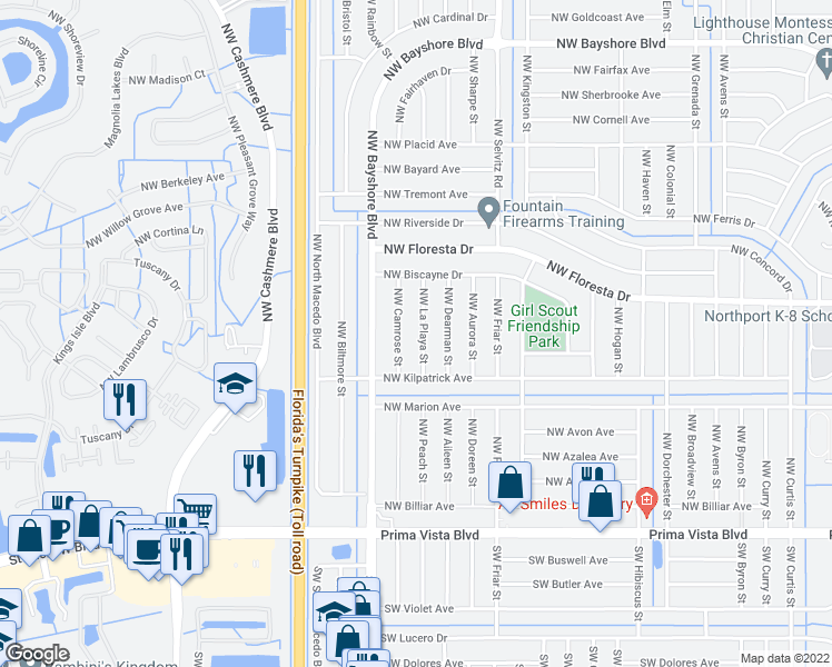 map of restaurants, bars, coffee shops, grocery stores, and more near 332 Northwest La Playa Street in Port St. Lucie