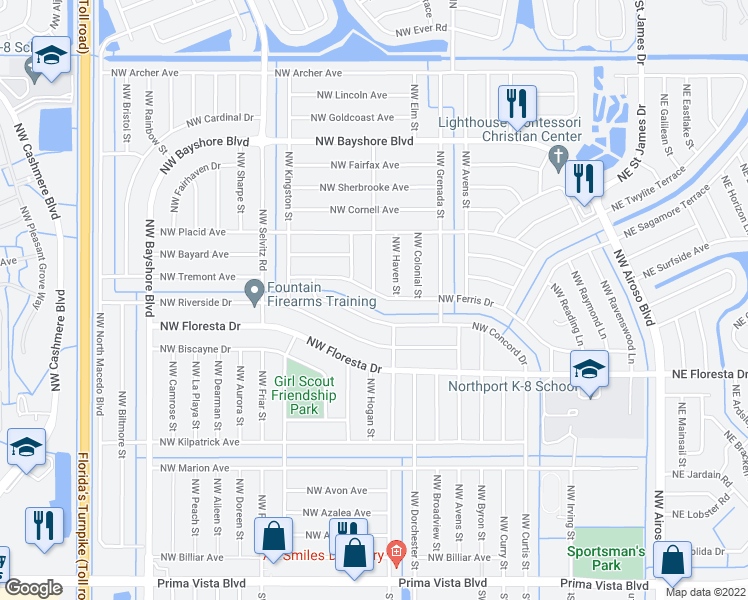 map of restaurants, bars, coffee shops, grocery stores, and more near 506 Northwest Ferris Drive in Port St. Lucie