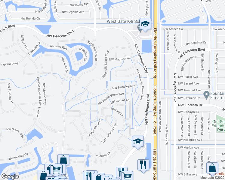 map of restaurants, bars, coffee shops, grocery stores, and more near 151 Northwest Berkeley Avenue in Port St. Lucie