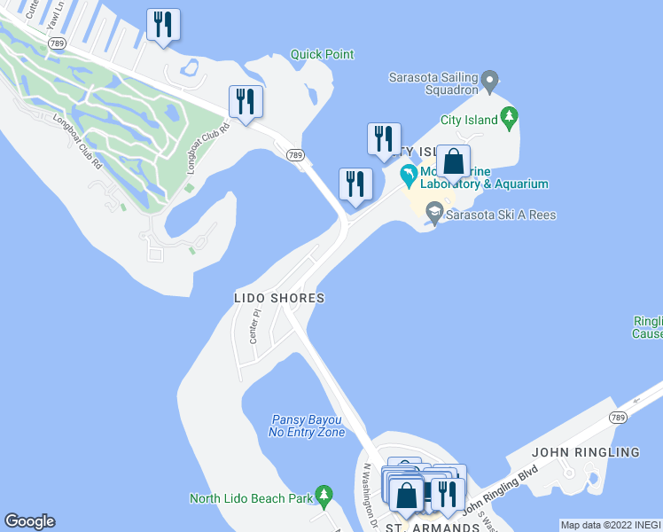 map of restaurants, bars, coffee shops, grocery stores, and more near 1410 John Ringling Parkway in Sarasota