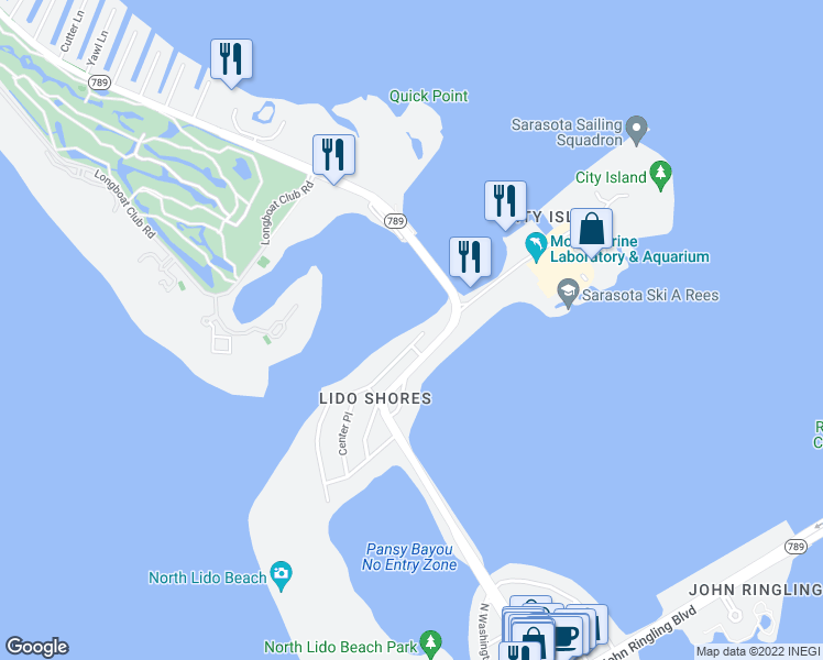 map of restaurants, bars, coffee shops, grocery stores, and more near 1415 Westway Drive in Sarasota