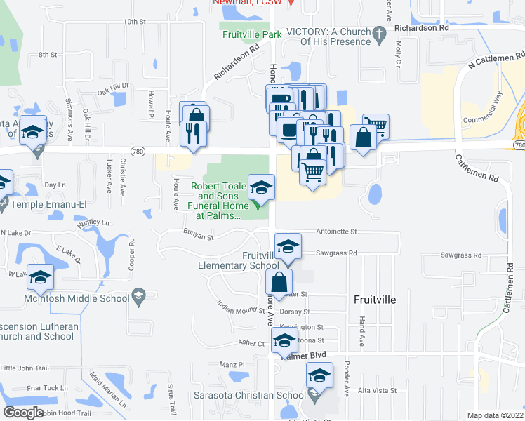 map of restaurants, bars, coffee shops, grocery stores, and more near in Sarasota