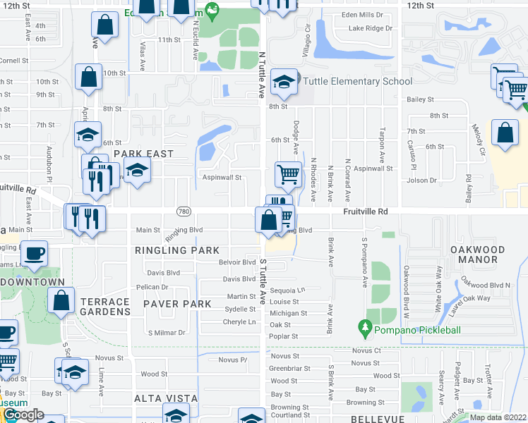 map of restaurants, bars, coffee shops, grocery stores, and more near Fruitville Road & North Tuttle Avenue in Sarasota