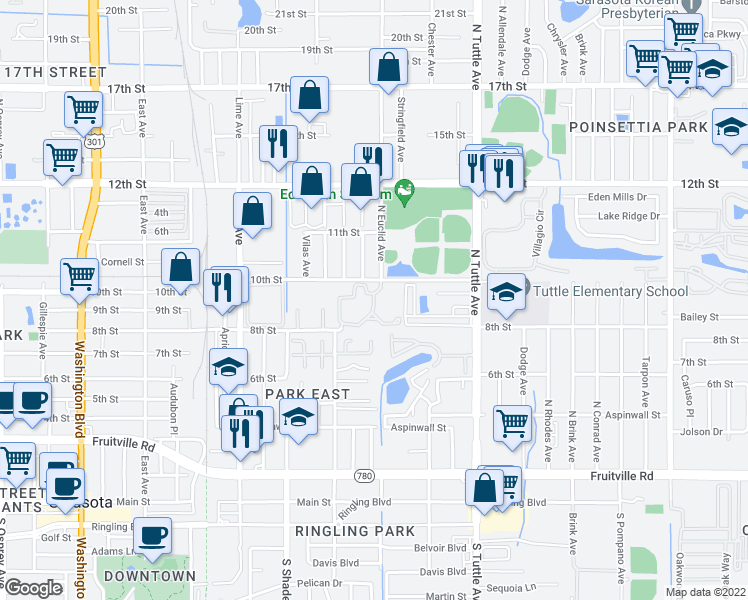map of restaurants, bars, coffee shops, grocery stores, and more near 2562 10th Street in Sarasota
