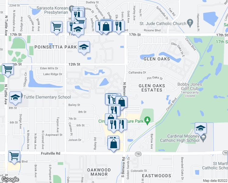map of restaurants, bars, coffee shops, grocery stores, and more near 1029 North Beneva Road in Sarasota