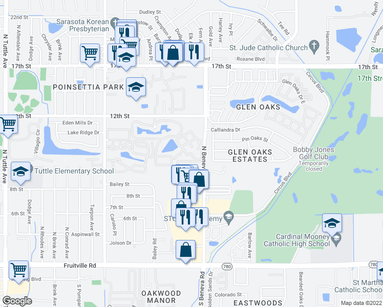 map of restaurants, bars, coffee shops, grocery stores, and more near 3533 Cheshire Square in Sarasota