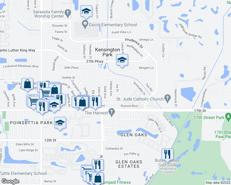 map of restaurants, bars, coffee shops, grocery stores, and more near 2039 Ivy Place in Sarasota