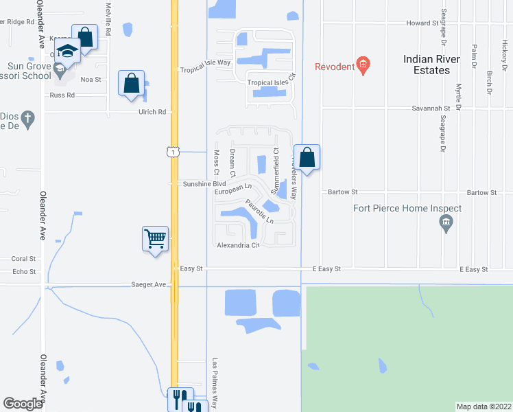 map of restaurants, bars, coffee shops, grocery stores, and more near 5930 Foxtail Way in Fort Pierce