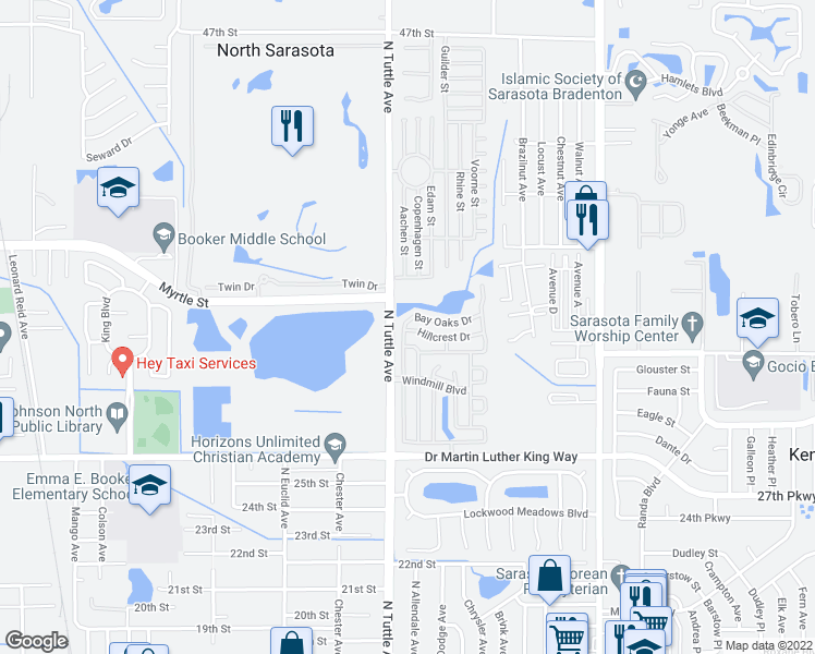 map of restaurants, bars, coffee shops, grocery stores, and more near 2821 Hillcrest Drive in Sarasota