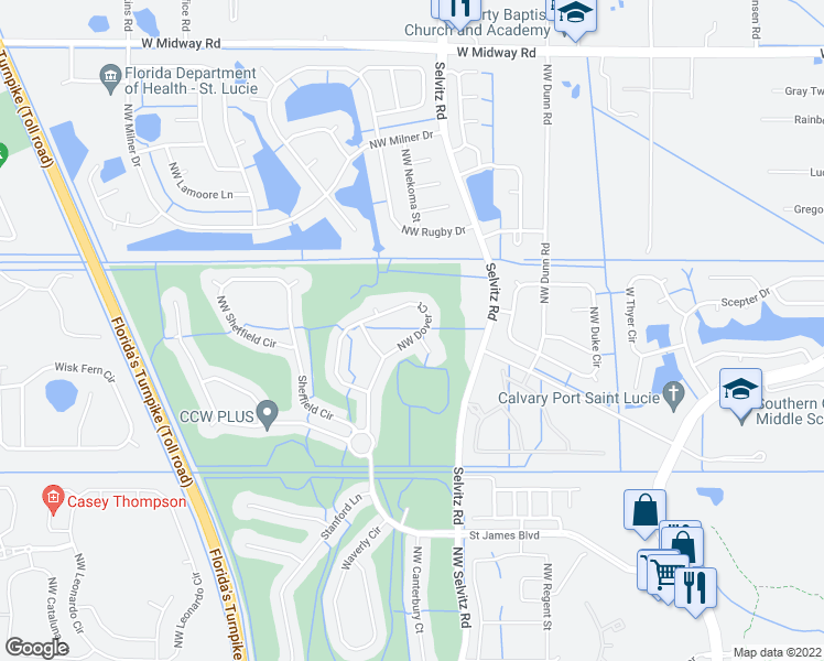 map of restaurants, bars, coffee shops, grocery stores, and more near 477 Northwest Dover Court in Port St. Lucie