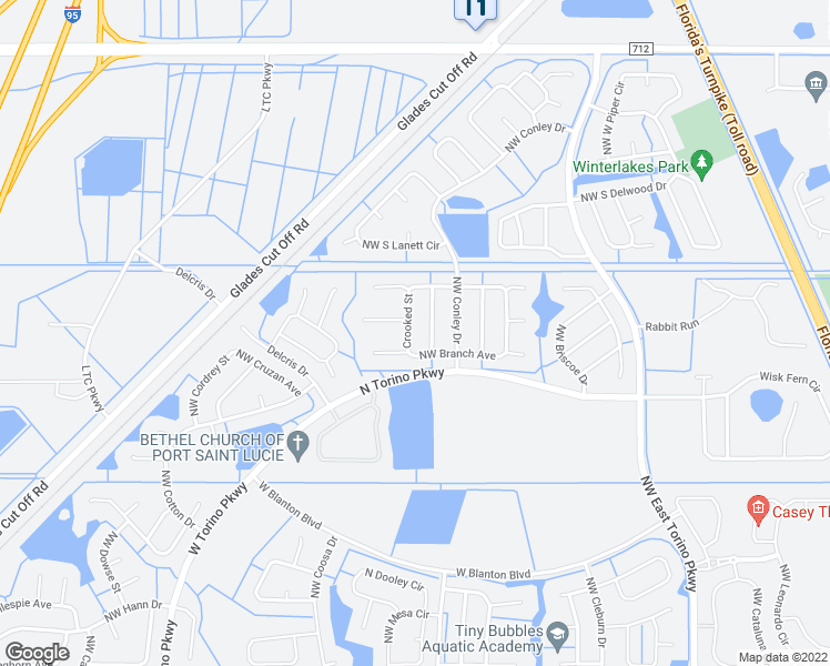 map of restaurants, bars, coffee shops, grocery stores, and more near 5463 Crooked Street in Port St. Lucie