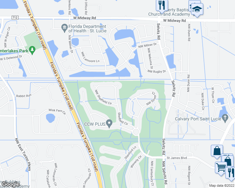 map of restaurants, bars, coffee shops, grocery stores, and more near 364 Northwest Sheffield Circle in Port St. Lucie