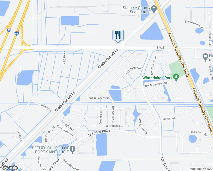 map of restaurants, bars, coffee shops, grocery stores, and more near 5369 North Lanett Circle in Port St. Lucie