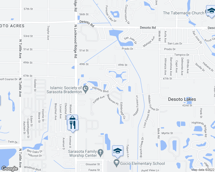 map of restaurants, bars, coffee shops, grocery stores, and more near 4482 Winston Lane North in Sarasota