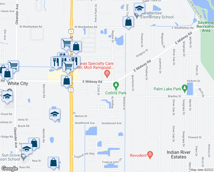 map of restaurants, bars, coffee shops, grocery stores, and more near 356 Barraclough Street in Fort Pierce