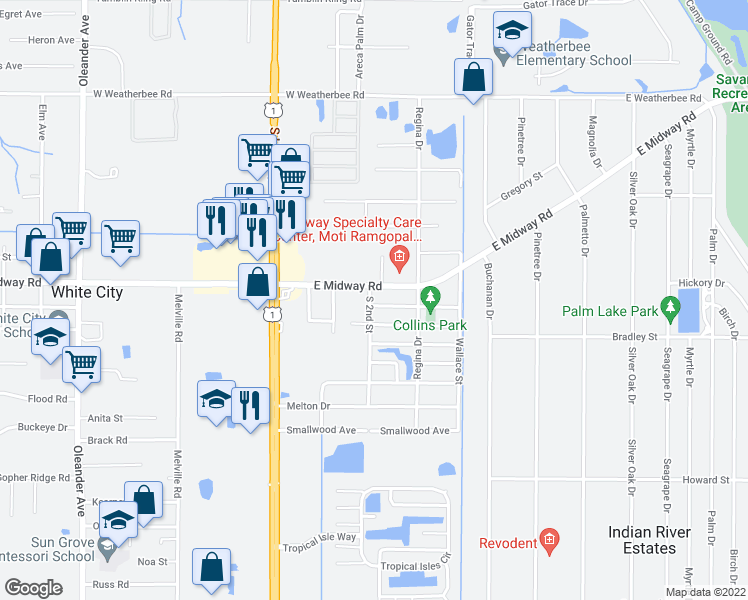 map of restaurants, bars, coffee shops, grocery stores, and more near 368 Barraclough Street in Fort Pierce