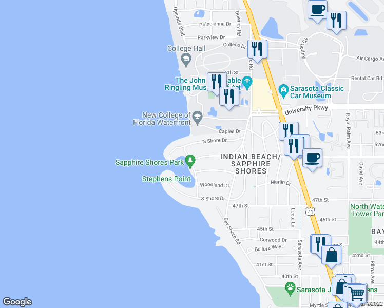 map of restaurants, bars, coffee shops, grocery stores, and more near 5110 Sun Circle in Sarasota
