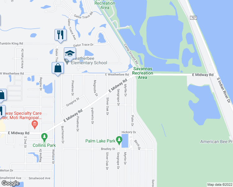 map of restaurants, bars, coffee shops, grocery stores, and more near 4705 Seagrape Drive in Fort Pierce
