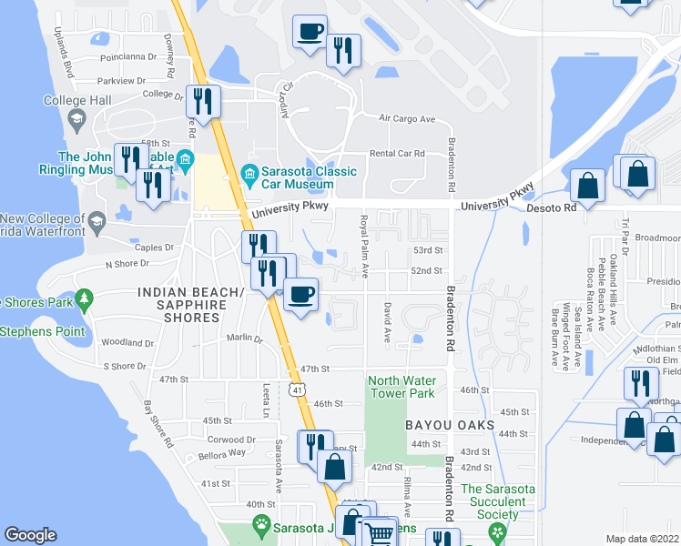 map of restaurants, bars, coffee shops, grocery stores, and more near 984 Sunridge Drive in Sarasota
