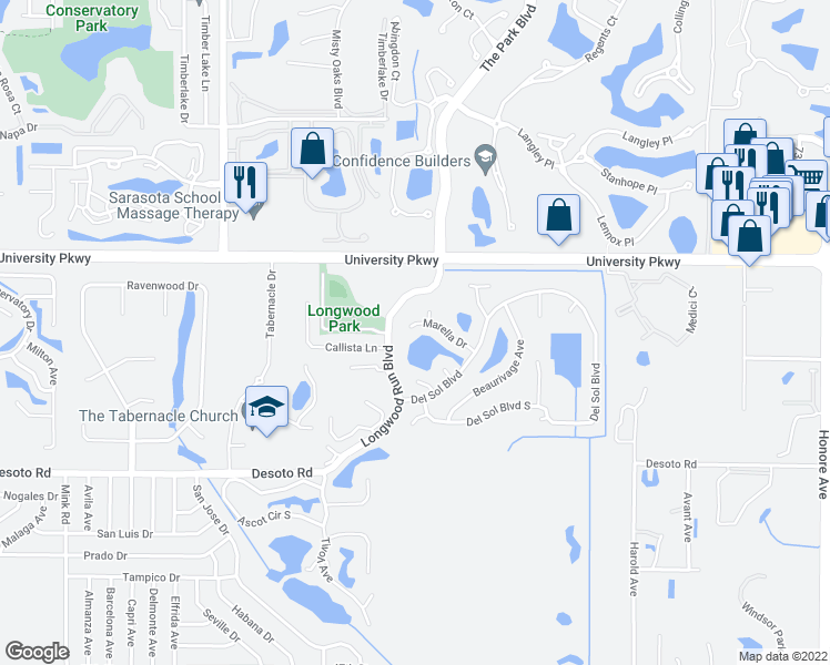 map of restaurants, bars, coffee shops, grocery stores, and more near 6052 Marella Drive in Sarasota