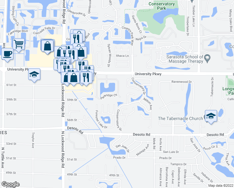 map of restaurants, bars, coffee shops, grocery stores, and more near 3658 Parkridge Circle in Sarasota