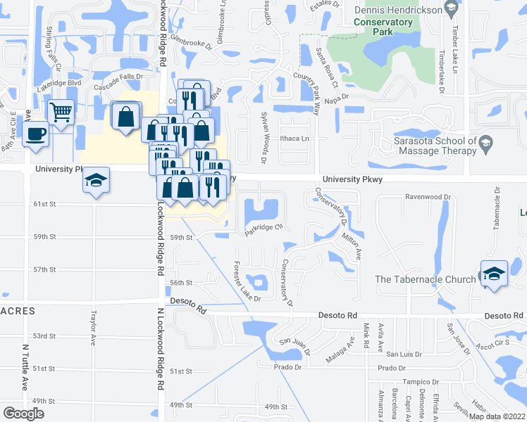 map of restaurants, bars, coffee shops, grocery stores, and more near 3661 Parkridge Circle in Sarasota