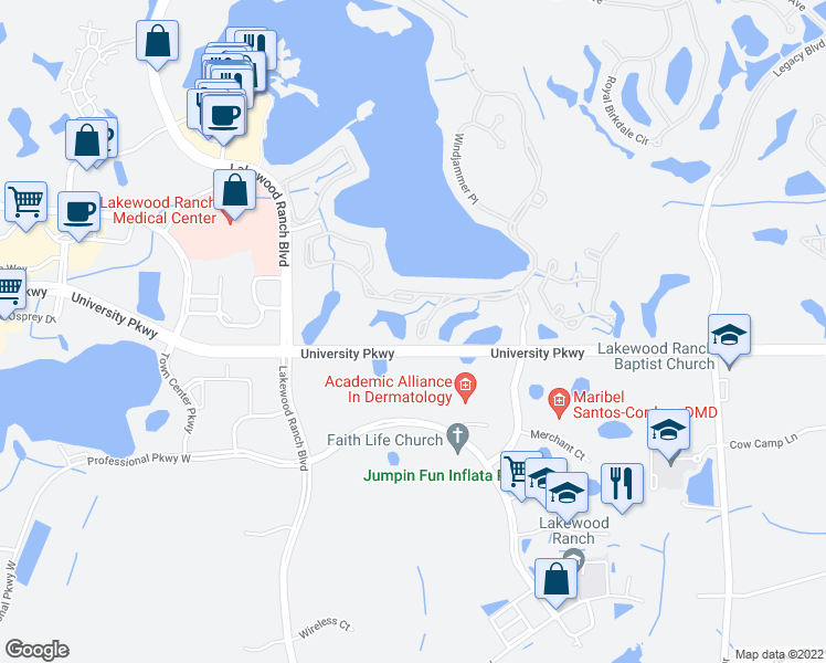 map of restaurants, bars, coffee shops, grocery stores, and more near 8432 Misty Morning Court in Lakewood Ranch