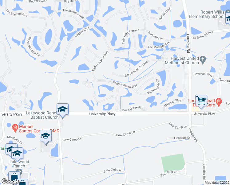 map of restaurants, bars, coffee shops, grocery stores, and more near 8326 Tartan Fields Circle in Lakewood Ranch