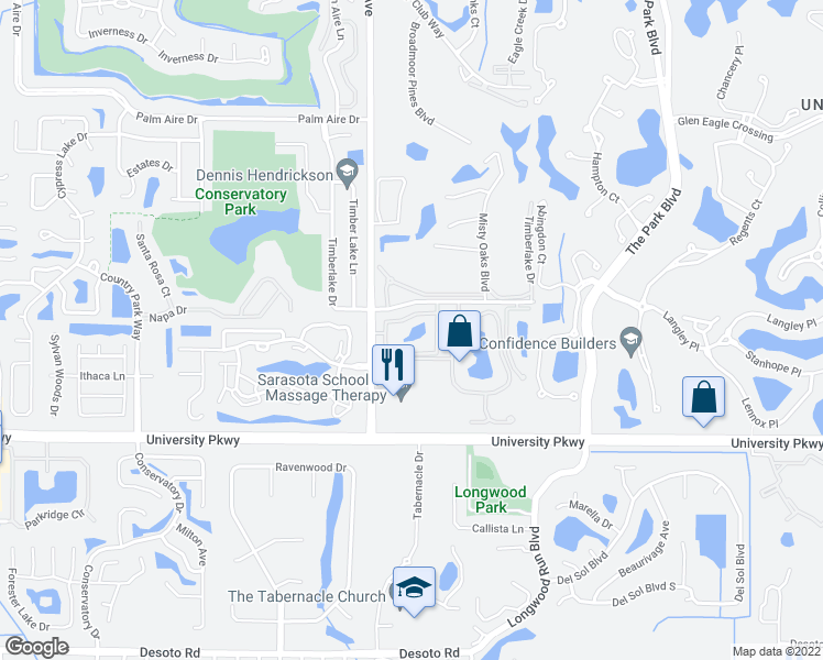 map of restaurants, bars, coffee shops, grocery stores, and more near 8226 60th Street Circle East in Sarasota