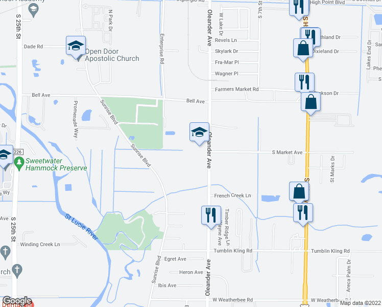 map of restaurants, bars, coffee shops, grocery stores, and more near 3607 Oleander Avenue in Fort Pierce